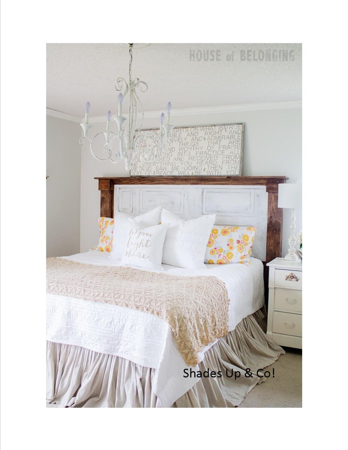 Shabby Chic Small Bedroom King Size Gathered Dust Ruffle Bed Skirt Natural Tan Color