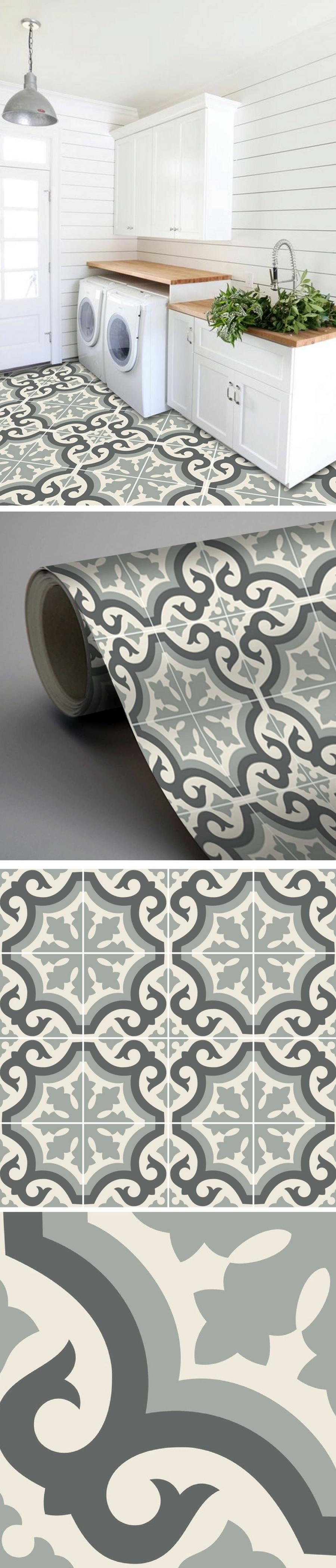 Vinyle Adhésif Pour Sol sticker sol carreau vinyle palermo gris perle | déco maison