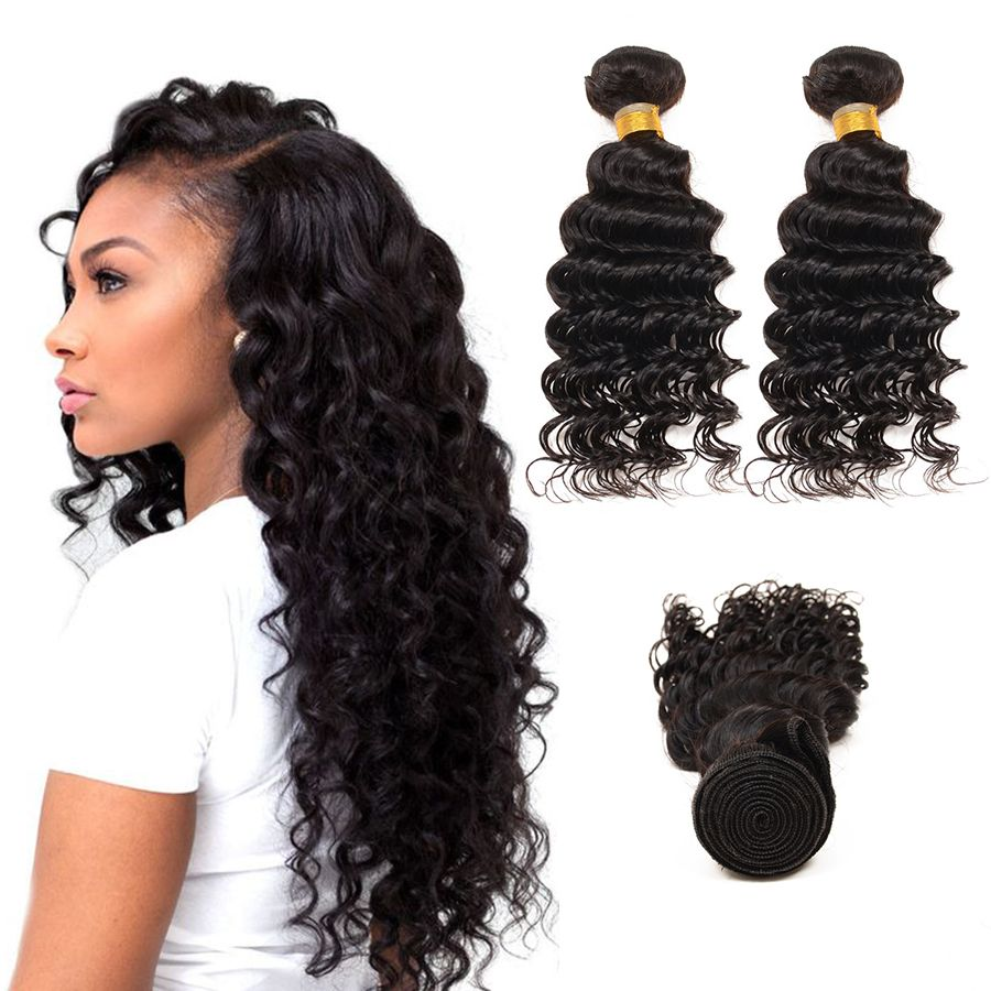8a Raw Indian Deep Wave Curly Virgin Hair Indian Remy Hair Weave