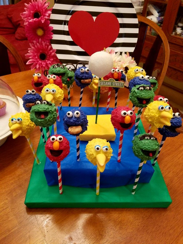 Sesame street cake pops big bird cookie monster elmo