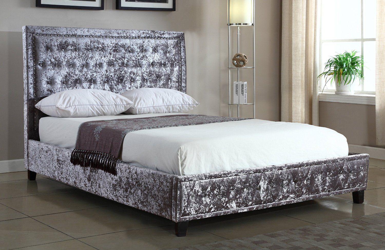 Silver Crushed Velvet Upholstered Designer Bed Frame 4ft6 Double