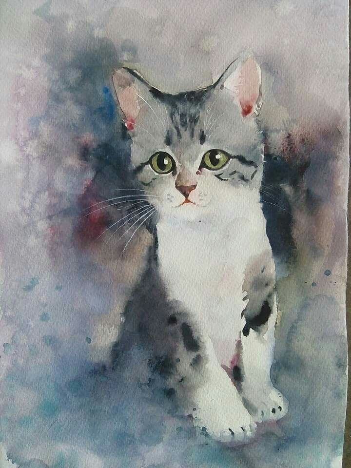 Watercolor Kitten Watercolor Cat Cat Artwork Cat Painting