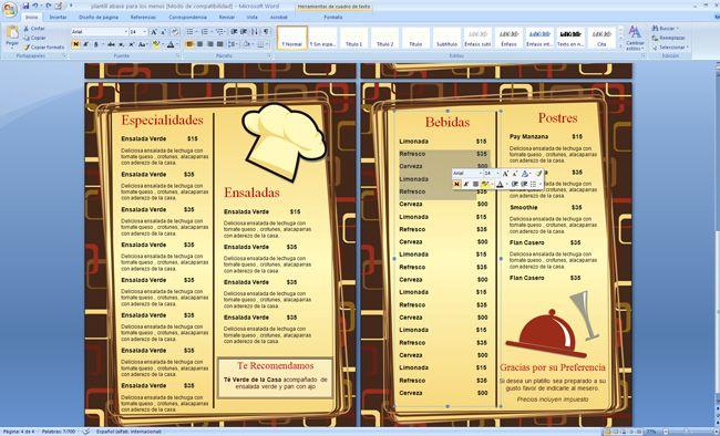Plantilla para menus de restaurante menus de for Como crear un restaurante