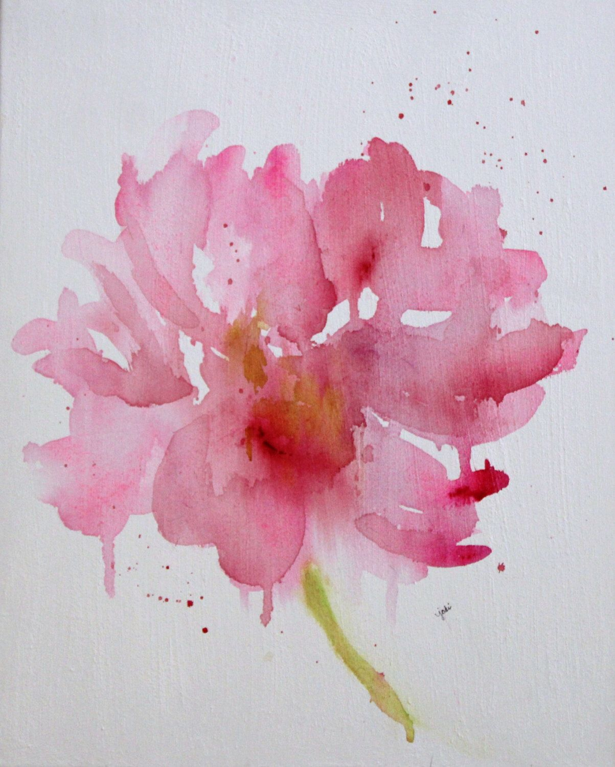 Pink Peony original watercolor flower, 16 x 20 on canvas, pink ...
