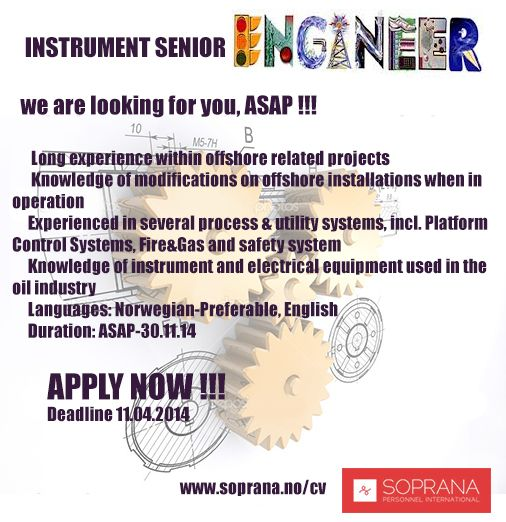 We are looking for an Instrument Senior Engineer! Jobposters - petroleum engineer job description