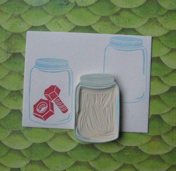 hand-carved empty jar stamp. #stamp