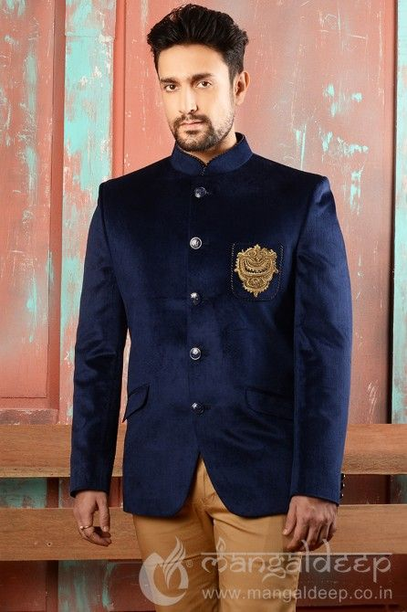 e6e5d5cbe4 Navy Blue Banarasi Silk Party Wear Patch Work Jodhpuri Suit. For more  information :- Call us @+919377222211 (Whatsapp Available)