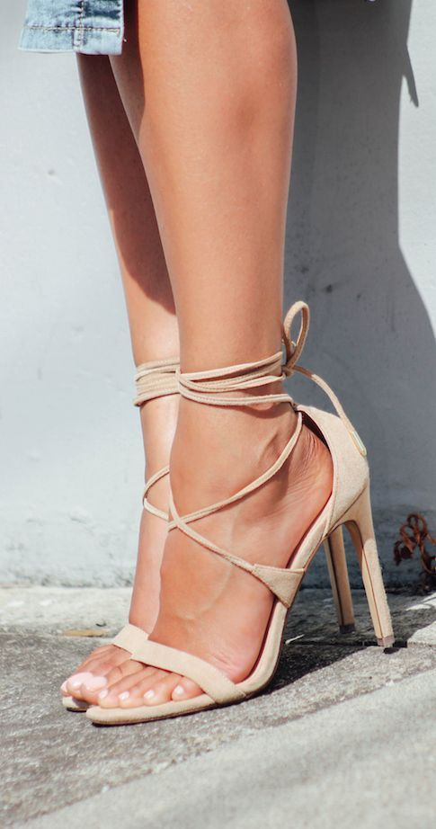 7680081aa60 Nude lace up heels by Steve Madden. Gorgeous!