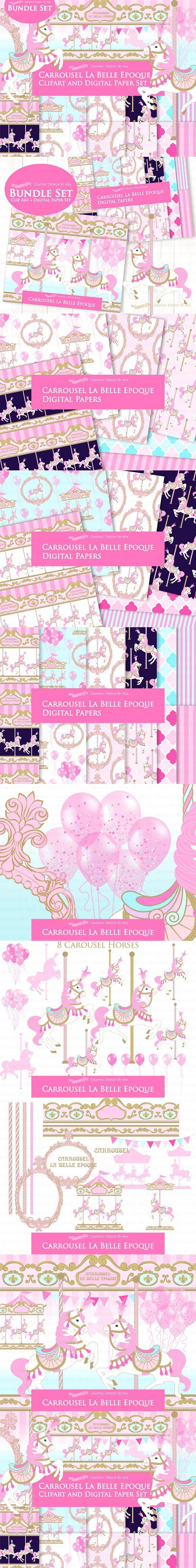 hight resolution of pink carousel clipart pattern