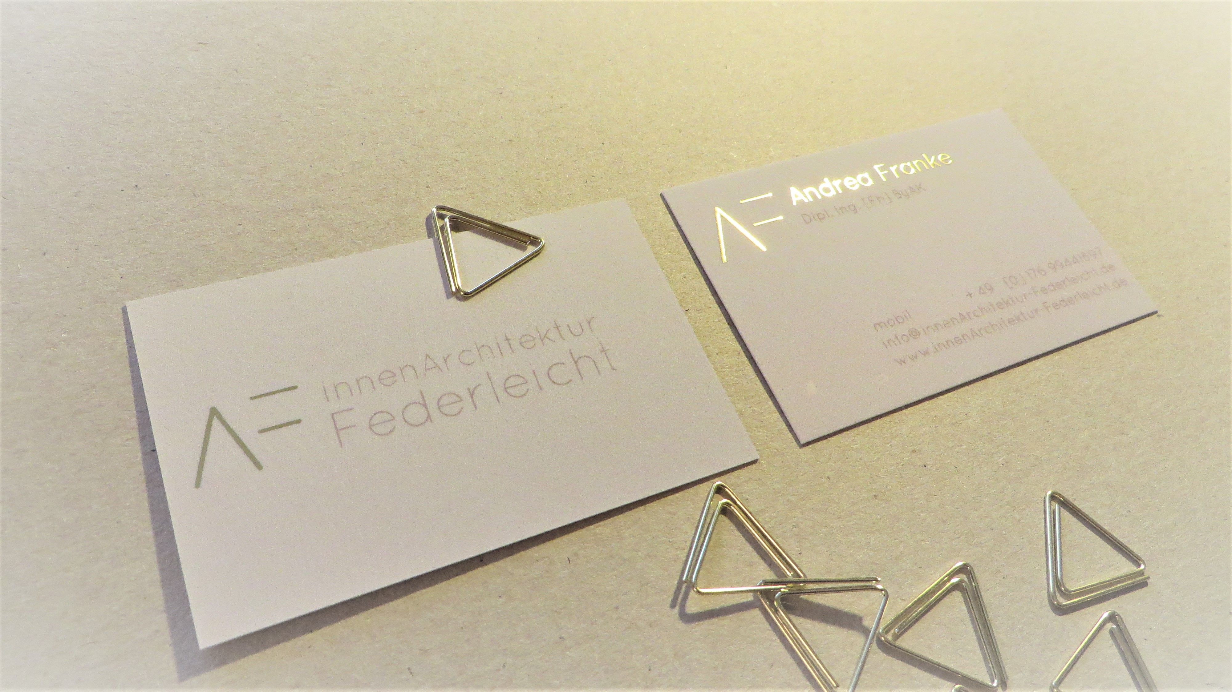 Visitenkarte Mit Goldfolie Business Card With Gold Printed