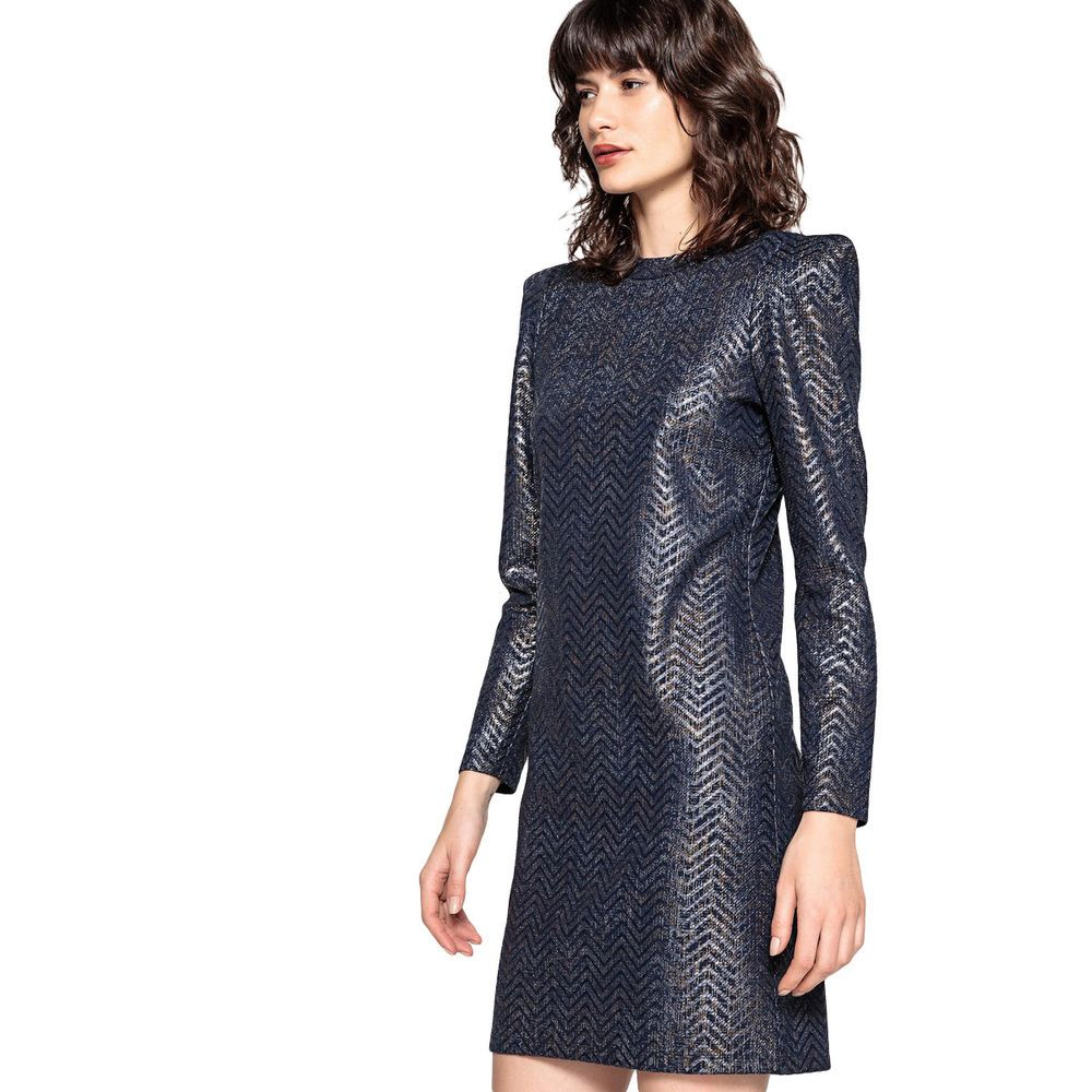 9109cc9c22f55e La Redoute Collections Womens Shimmer Dress With Padded Shoulders  fashion   clothing  shoes