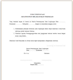 Contoh Surat Pernyataan Kesanggupan Melaksanakan Pekerjaan Surat Kerja