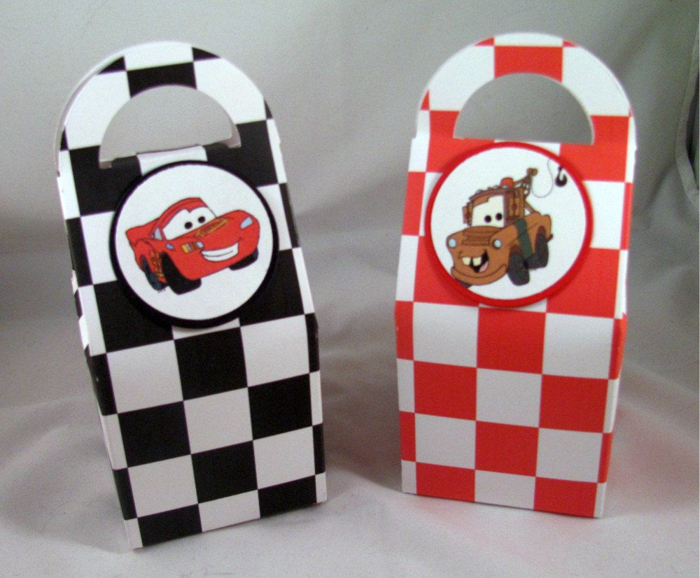 Cars Birthday Favor Boxes Featuring Lightning Mcqueen And