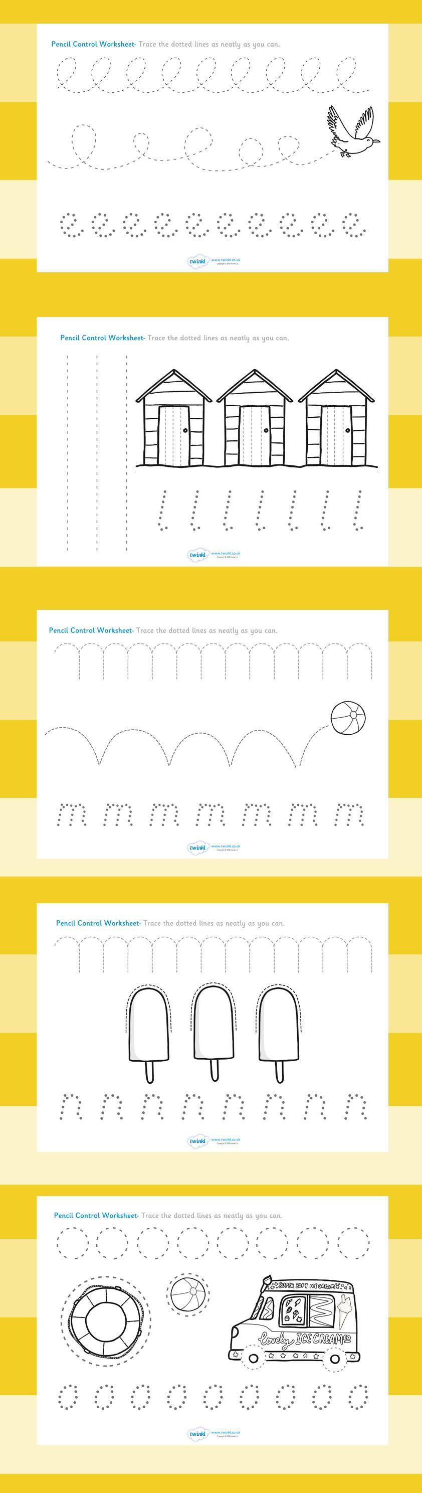 The seaside- Pencil control worksheets | Schule | Pinterest | Schule ...