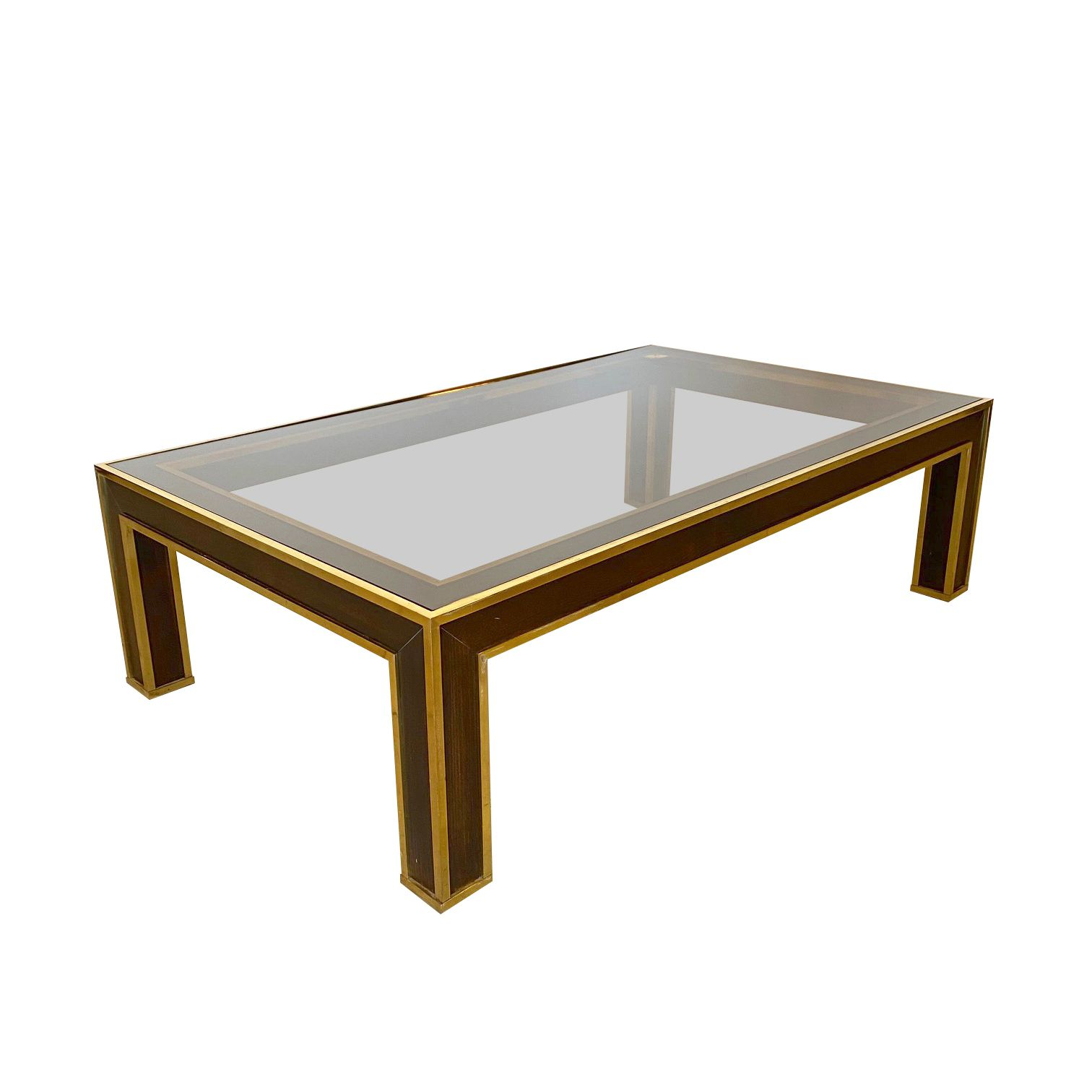 Coffee Table In Wood And Brass 70s Coffee Table Wood Glass Table [ 1512 x 1512 Pixel ]