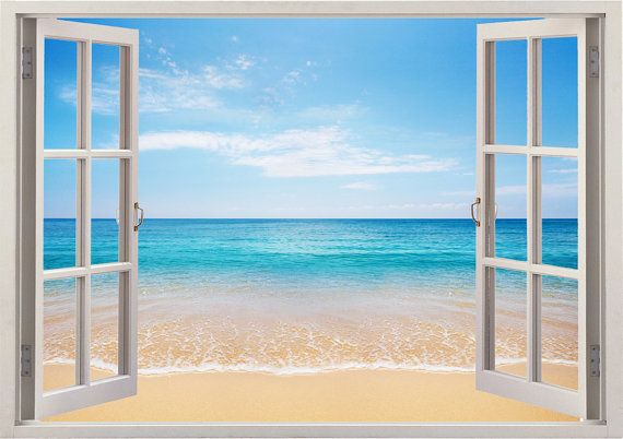 beach wall sticker 3d window, tropical sea wall decal for home decor