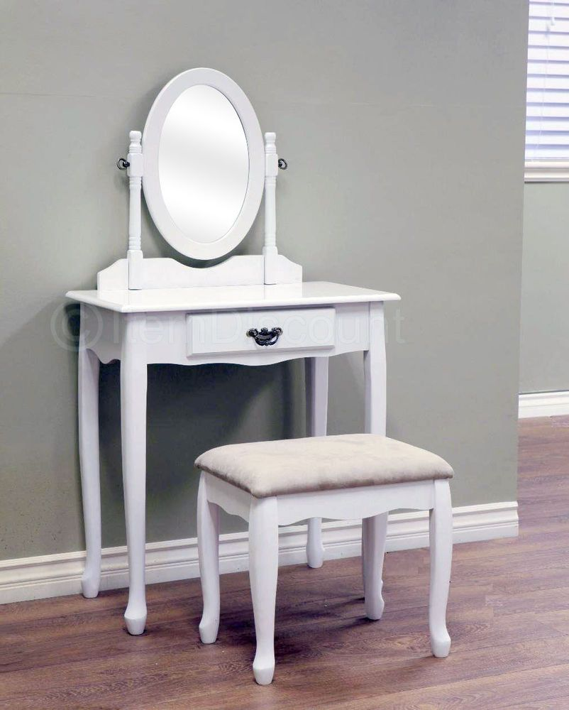 Queen Anne White Oval Mirror Bedroom Vanity Set Table Drawer Bench Hair  Makeup