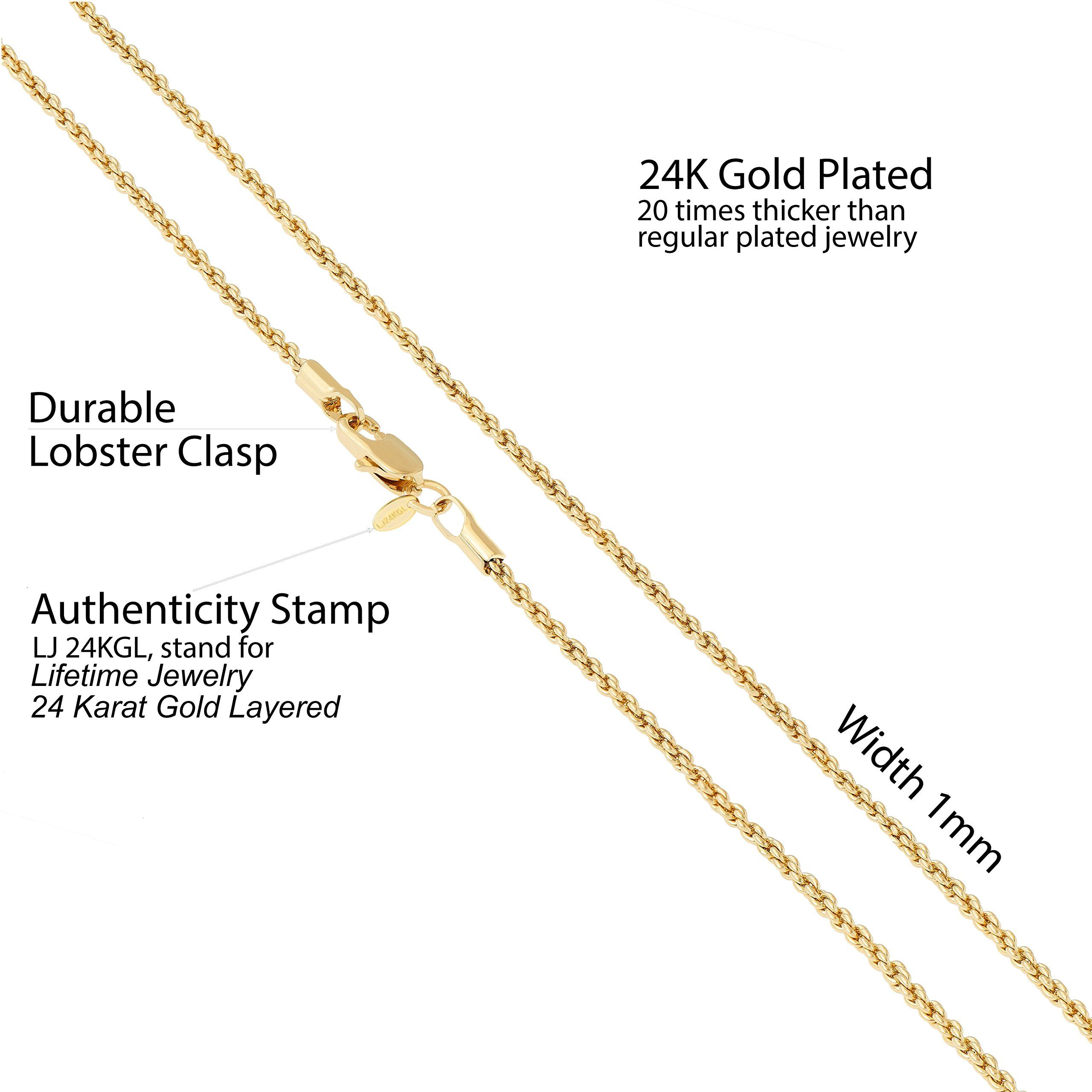Rope Chain 1mm 24k Gold Overlay Premium Fashion Jewelry Short Choker Pendant Necklace Made Thin For Charms Guara Jewelry Jewelry Choker Choker Pendant Necklace