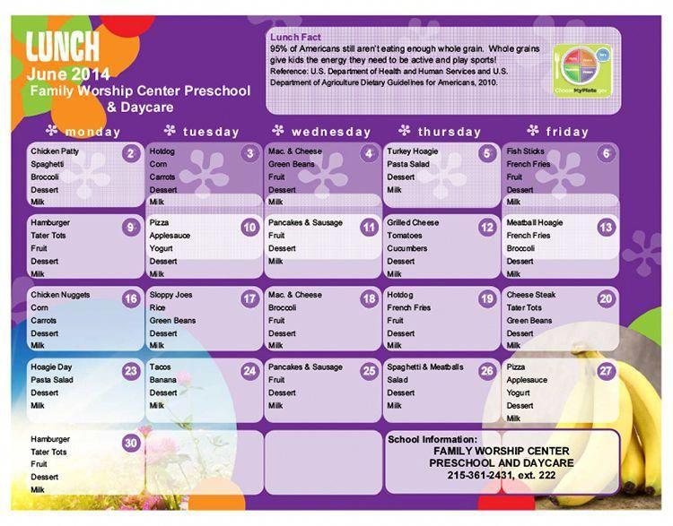 Image result for sample daycare breakfast menu #daycarerooms