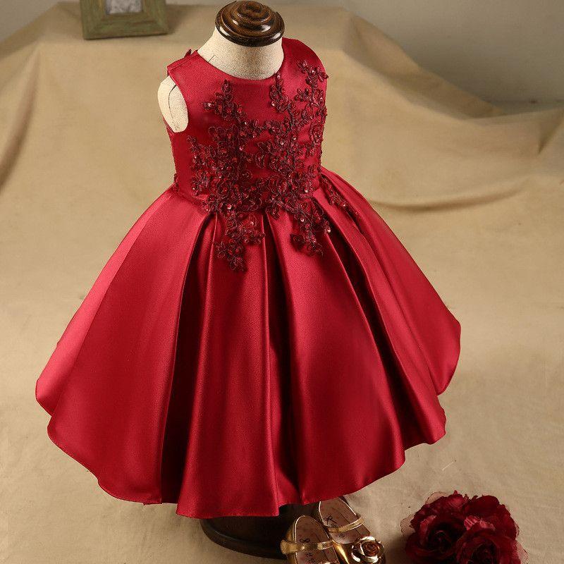 2018 Burgundy Lace Appliques Sequins Flower Girl Dresses Tea