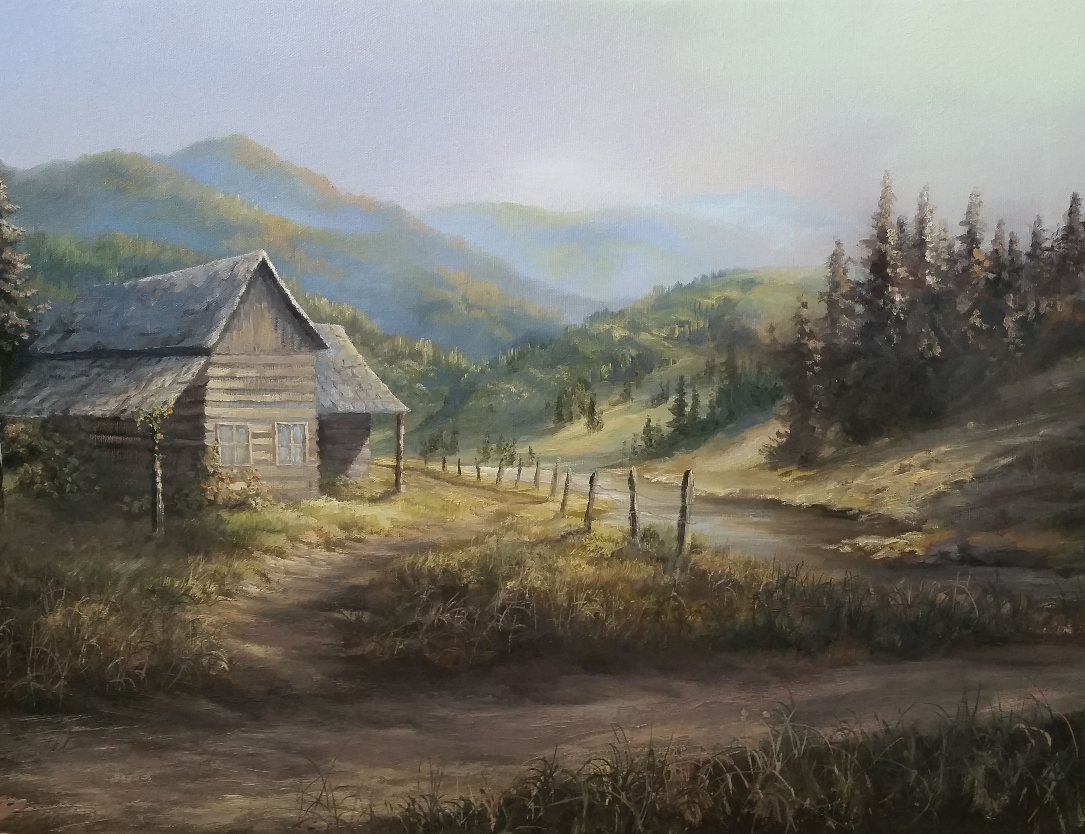 """Rustic Cabin"" Oil Painting by Kevin Hill Watch short oil"