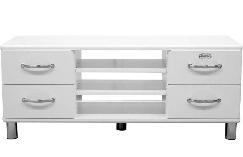 Malibu Banc TV vintage ALINEA blanc pas cher avec niches et 4 - Meuble Tv Avec Rangement