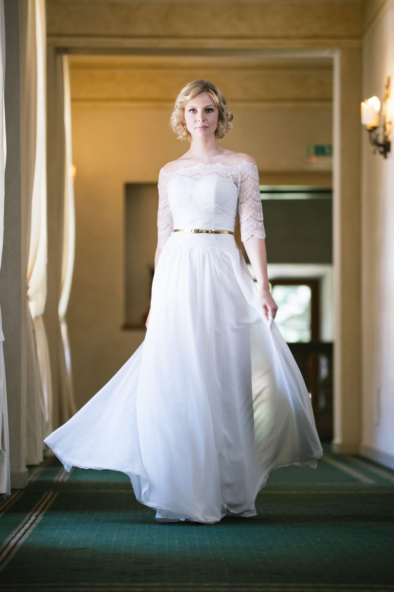 Brautkleid 20er Jahre Stil: Unsere Paulina mit goldenem Gürtel und ...