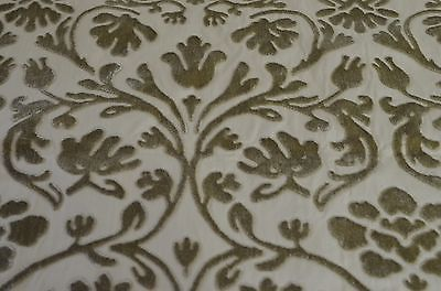 SUPERBLY ELEGANT HIGH END DECORATOR CUT VELVET FABRIC IN BEIGE ON ECRU NN54