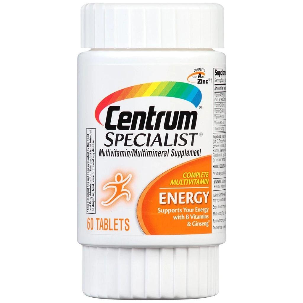 Centrum Specialist Energy 60 Tap سنتروم سبيشياليست لتعزيز الطاقة Multivitamin Vitamins For Women Dietary Supplements