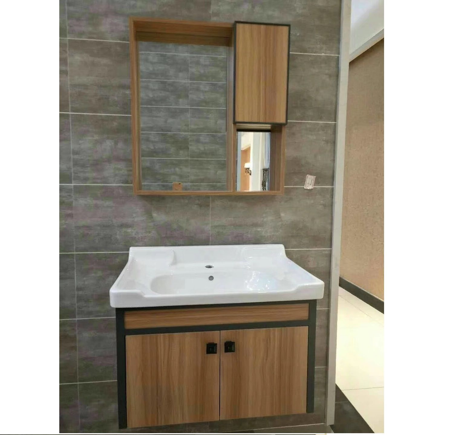 70Cm Bathroom Storage Cabinet With Side Cabinet Wood Pattern Finish