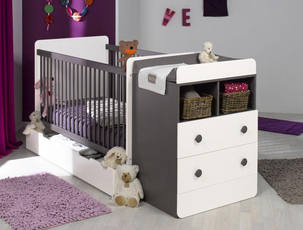 Chambre évolutive bébé Malte Taupe Blanc + matelas Babies