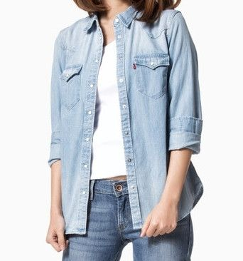 d62b83bf70 Levi s Womens Light Blue Chambray Pearl Snap Button Front Casual Denim Shirt  Size Small