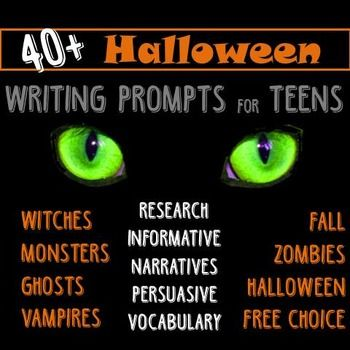 Halloween Writing for Teens Choice Menu with 40 Prompts {October - halloween writing ideas
