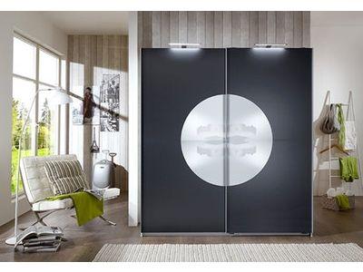 Armoire 2 portes coulissantes ROUND UP coloris blanc/anthracite - porte d armoire coulissante