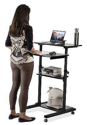Mount It Mobile Stand Up Desk Height Adjustable Computer Rolling Cart Black Stand Up Desk Adjustable Height Desk Desk