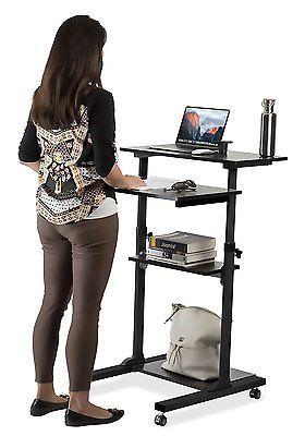Mount It Mobile Computer Laptop Stand Up Desk Height Adjustable Rolling Cart Adjustable Height Desk Stand Up Desk Desk Height