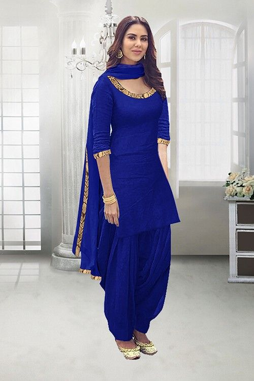 Casual Wear Royal Blue Poly Cotton Patiyala Suit , 71324H
