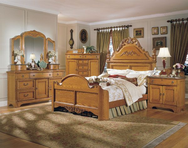 the furniture solid american oak bedroom set grandmas attic collection by vaughan free shipping - Oak Bedroom Sets