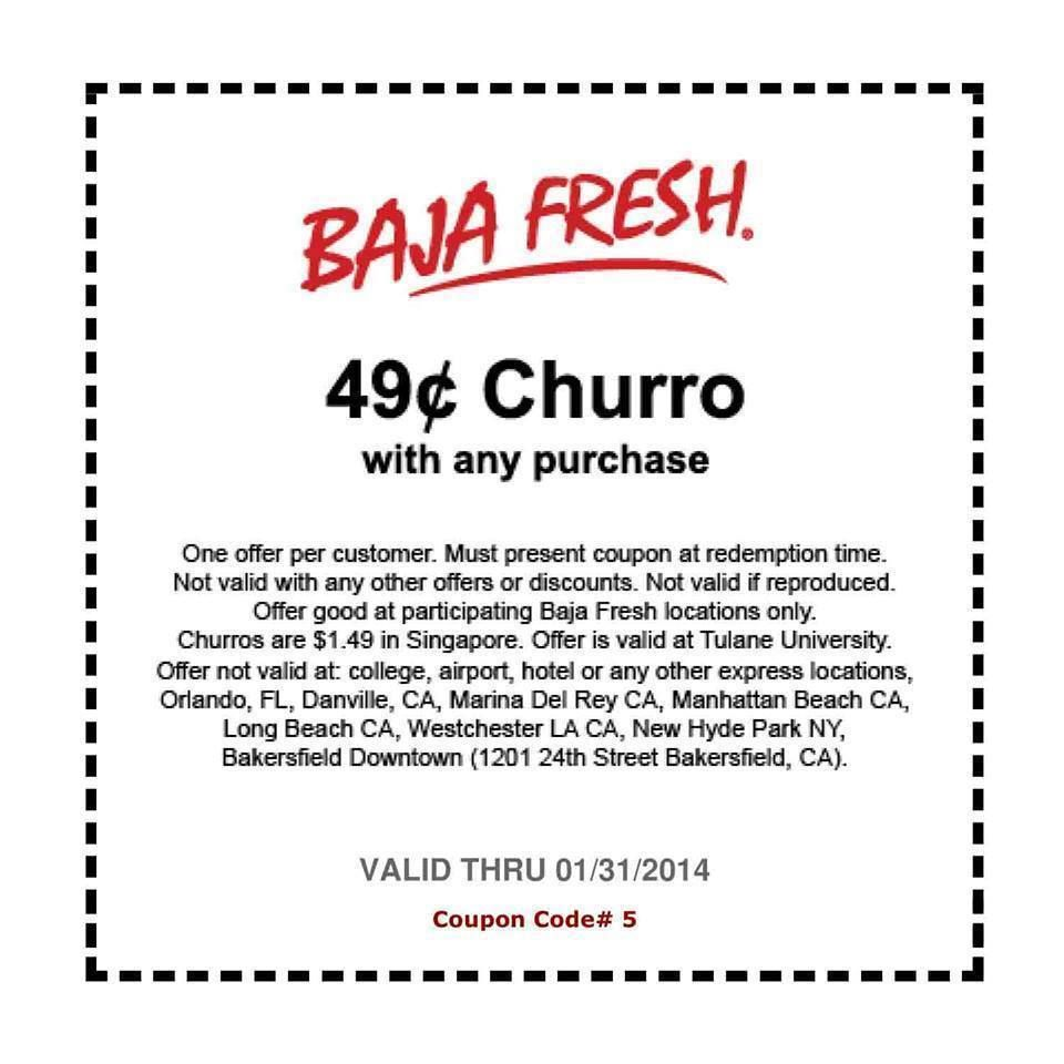 photo relating to Baja Fresh Coupons Printable known as Simply just 2 Times Still left! 49c Churros at Baja Fresh new! Baja Fresh new