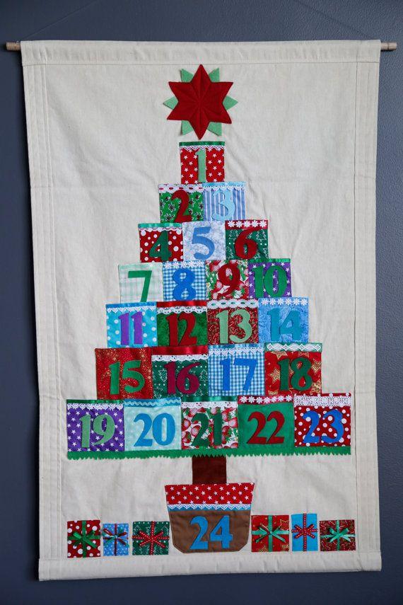 weihnachten adventskalender mit taschen countdown bis weihnachten stoff wand h ngen erbst ck. Black Bedroom Furniture Sets. Home Design Ideas