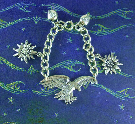 STERLING Austrian Empire bracelet Eagle heavy Chain Edelweiss & Cowbells Silver mens womens charm jewelry  41.7 grams
