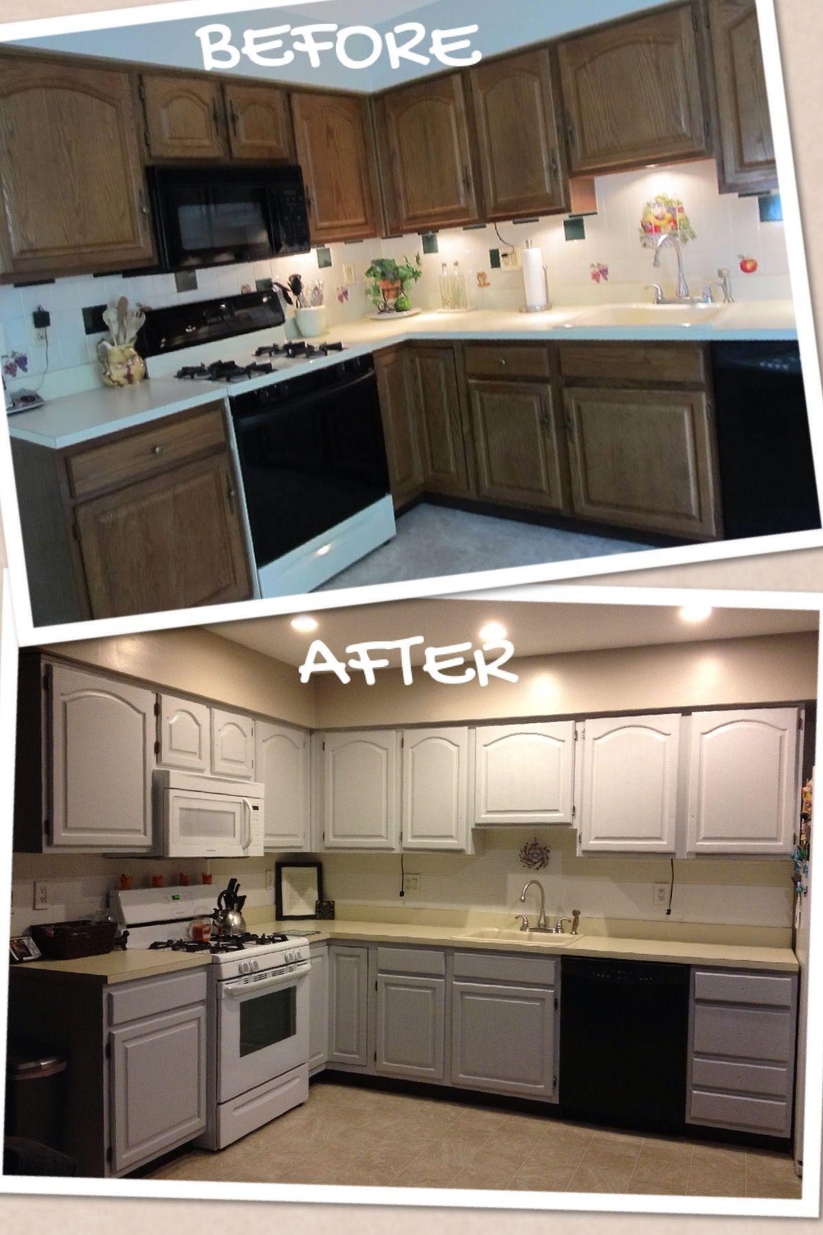 Painted Cabinets And Backsplash Makes A Huge Difference Valspar S Bonding Primer Valspar S Gravi Kitchen Cabinets Refacing Kitchen Cabinets Updated Kitchen