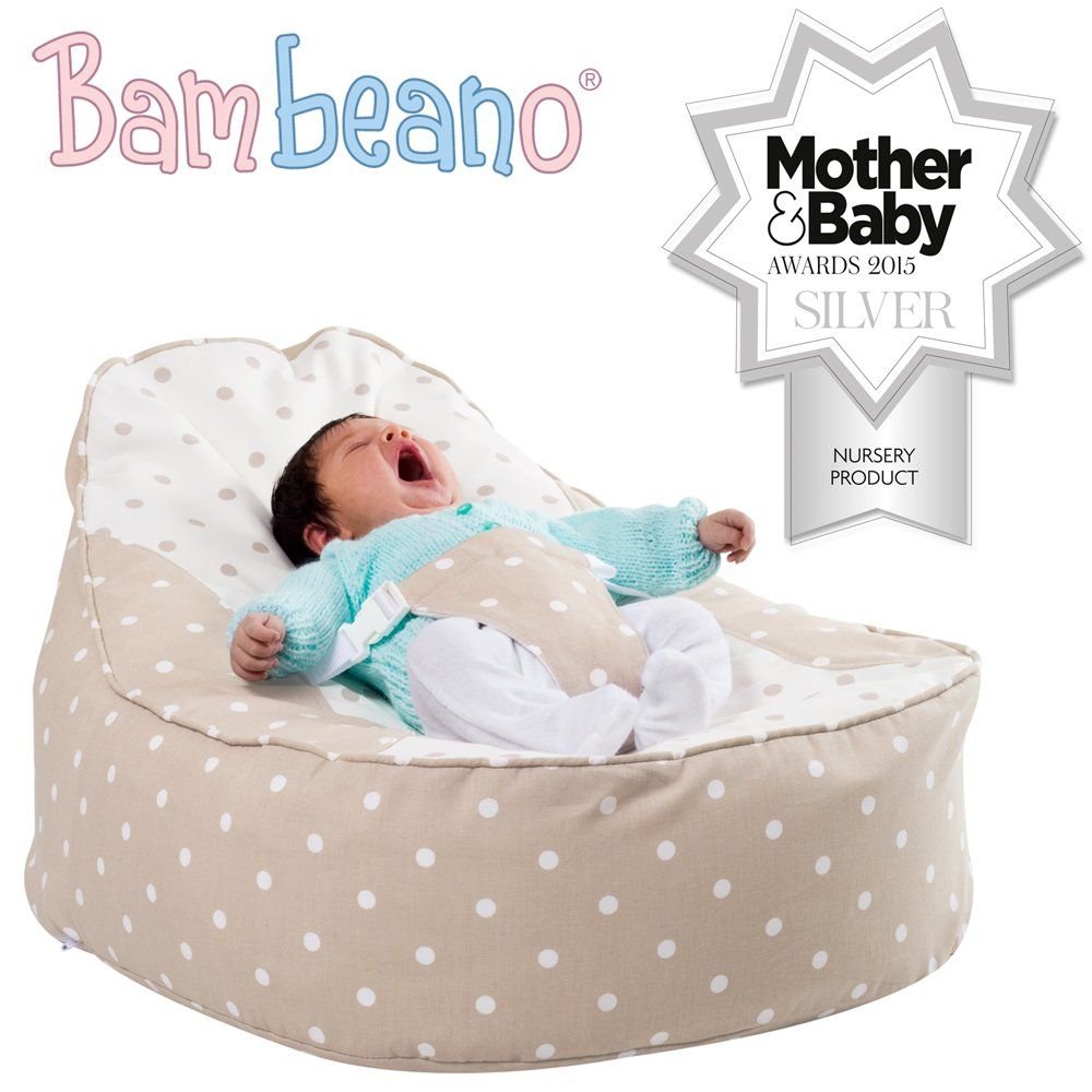 Natural Bambeano Baby Bean Bag Support Chair with /'My 1st Bean Bag/' Cover
