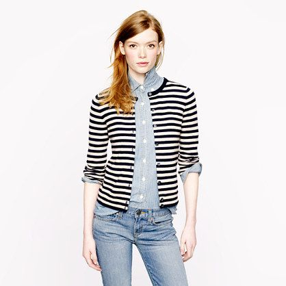 Collection featherweight cashmere cardigan in tonal stripe - J.Crew