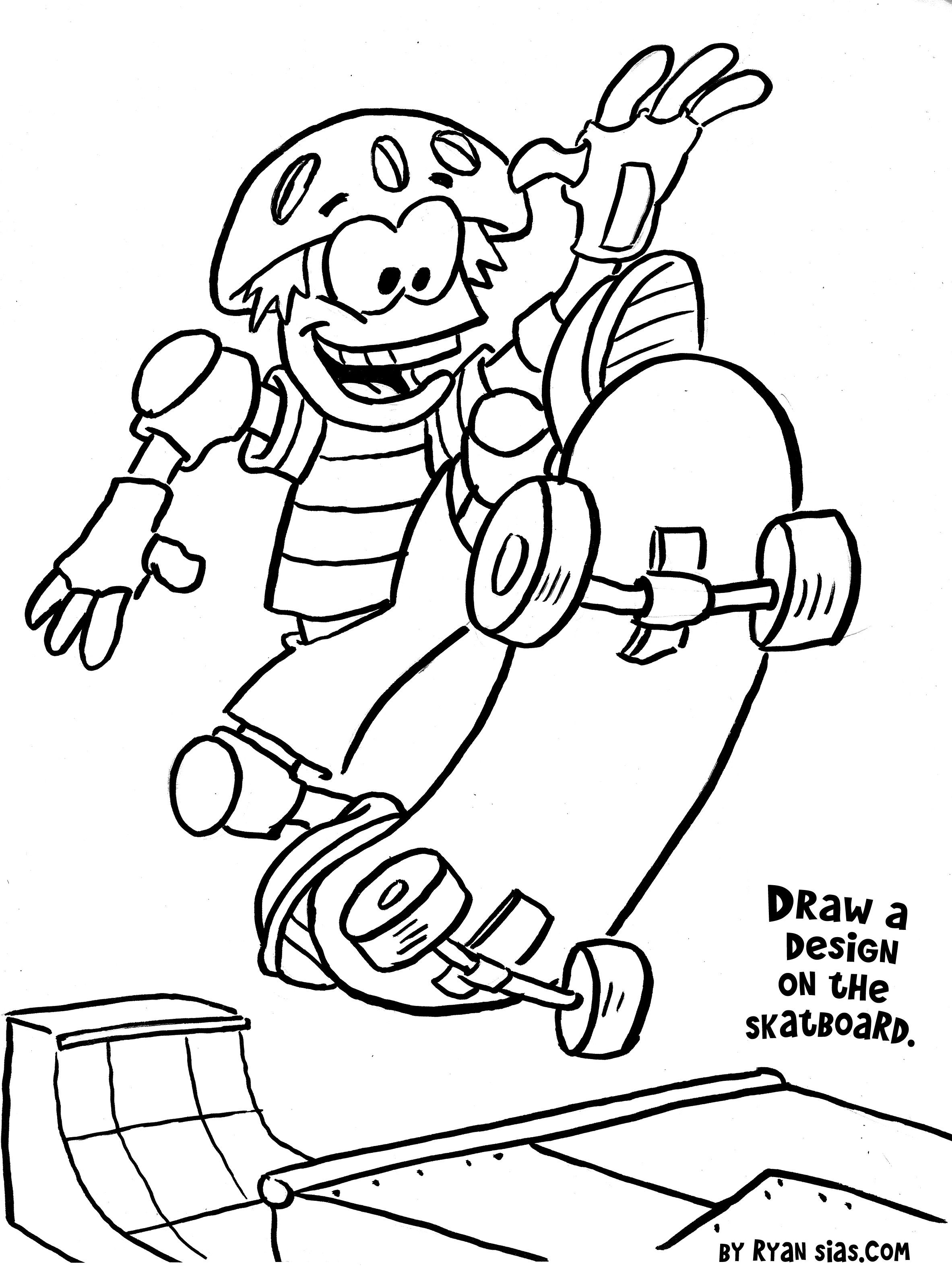 Free Printable Sports Coloring Pages Skateboard Gianfredanet