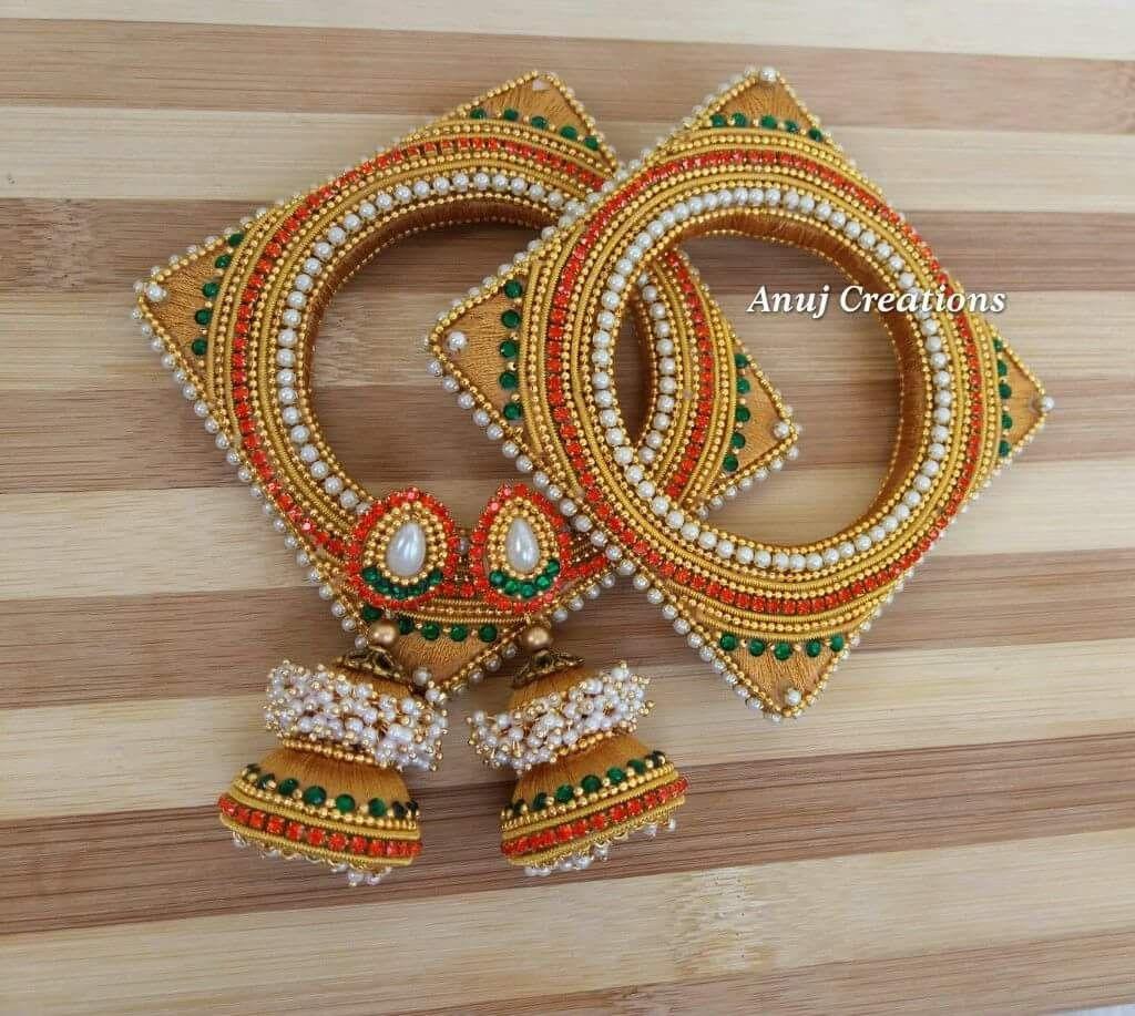 221030331 Silk thread | Designer bangles | Silk thread earrings, Silk thread ...
