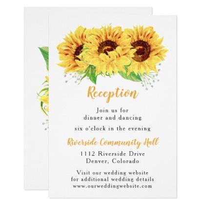 Sunflower Floral Wedding Reception Insert Card wedding