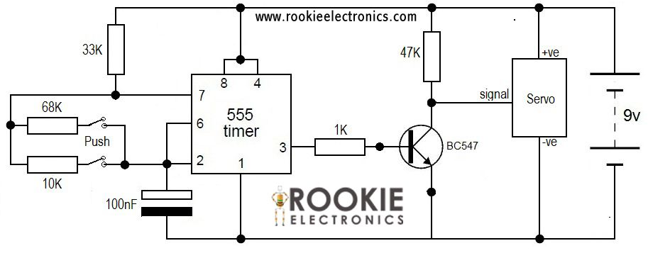 Servo Tester using 555 timer Circuit Diagram | Electronics