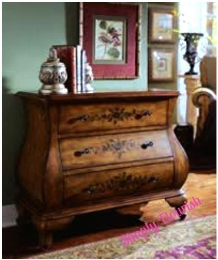 Tia Bombay Chest Hand Painted Night Stand Entry Hall Sofa