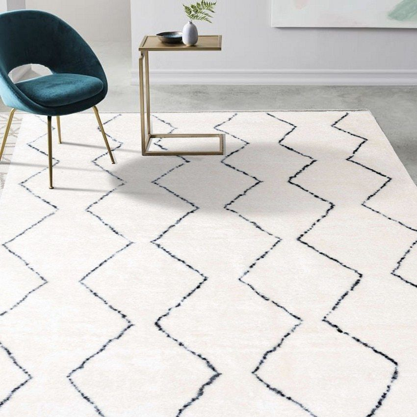 Modern Rug In Living Room With Cute Patterns A White And Black Rug Suites For Any Modern Living Room Int Rugs In Living Room Rugs On Carpet Living Room Carpet